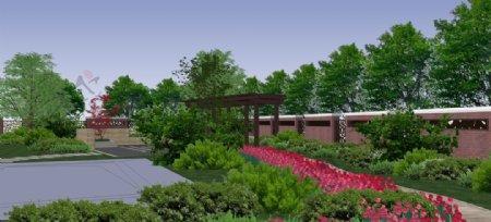 中式私家庭院园林景观效果图图片