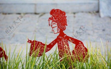 民俗女性戏曲人物剪纸雕塑图片