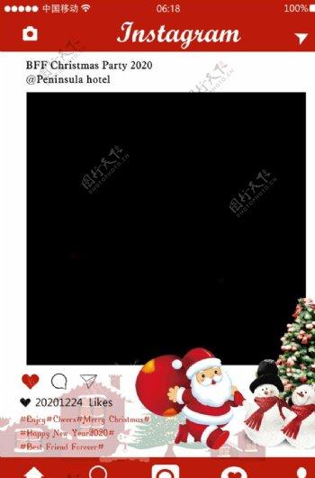 圣诞节ins风拍照相框psd图片