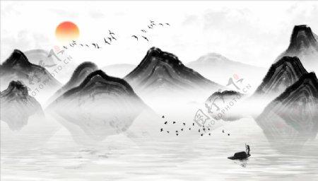 水墨山水小船太阳背景墙图片