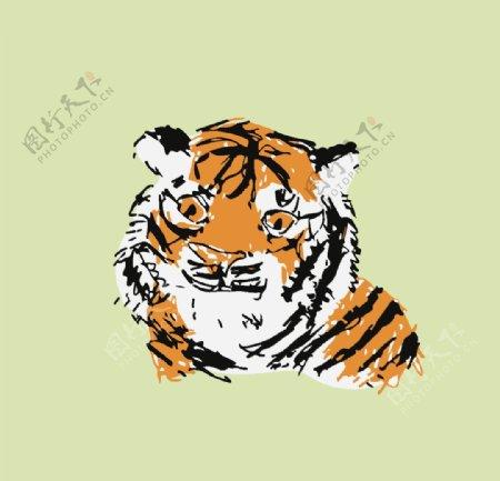 卡通动物图案可爱布偶老虎图片