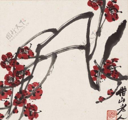 齐白石国画梅花图图片
