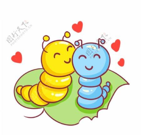 毛毛虫情侣图片