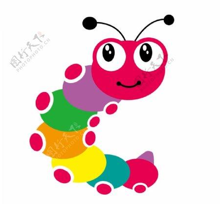 彩色儿童手绘卡通毛毛虫图片