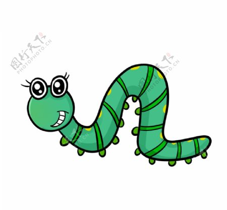 卡通毛毛虫爬行动画图片