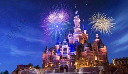 上海迪士尼夜景图片