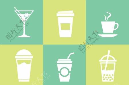 剪影果汁饮料玻璃杯图片图形