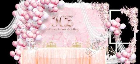 粉色婚礼签到处图片