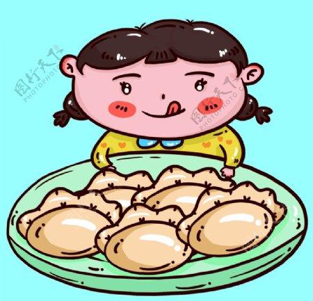 看着饺子嘴馋的女孩图片