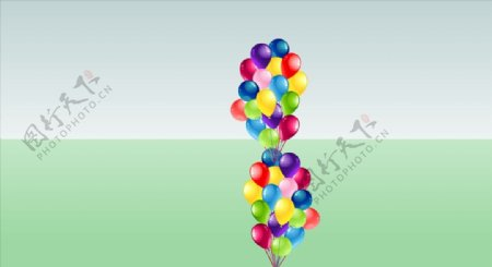 一大串彩色气球SU模型图片