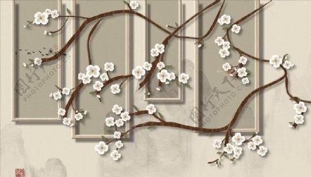 浮雕花梅花背景墙图片