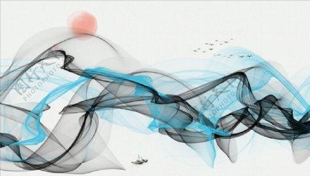 水墨画飘带太阳大雁背景墙图片