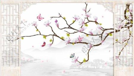 花鸟画玉兰花造型背景墙图片