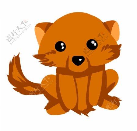 棕色的小狗手绘图片
