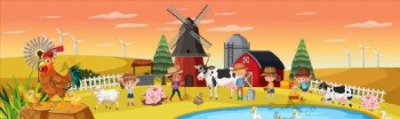卡通农场儿童图片