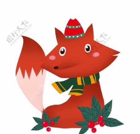 可爱的圣诞小狐狸图片
