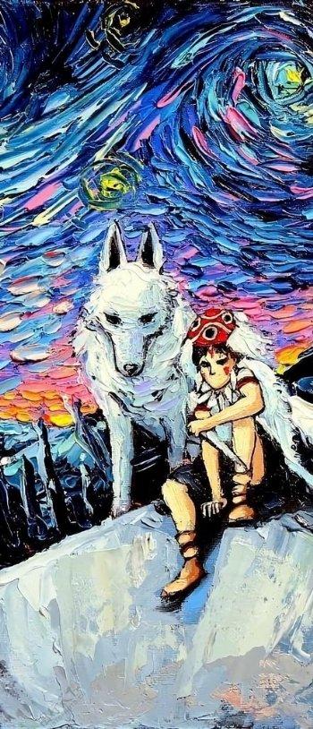 手机壁纸油画风格幽灵公主图片