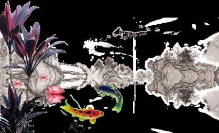 水墨墨迹鲤鱼锦鲤图片