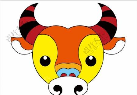 彩色牛头图片